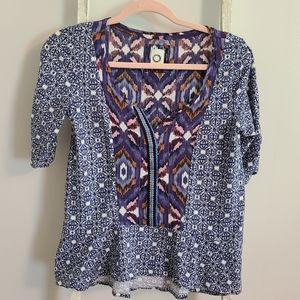 Anthro Akemi + Kim♡ Mixed patterns 3/4 sleeve top